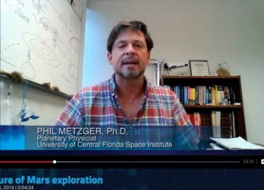 PBS SCITECH NOW: Dr. Phil Metzger Talks About The Mars Generation